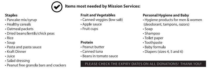 items needed